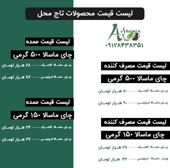 لیست قیمت چای ماسالا تاج محل